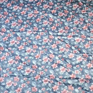 """floral fabric 106"""" X 54"""" NEW Blue Pink"""